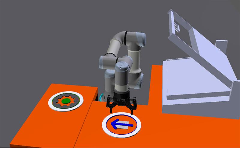 3D-malli cobotista testausasemalla