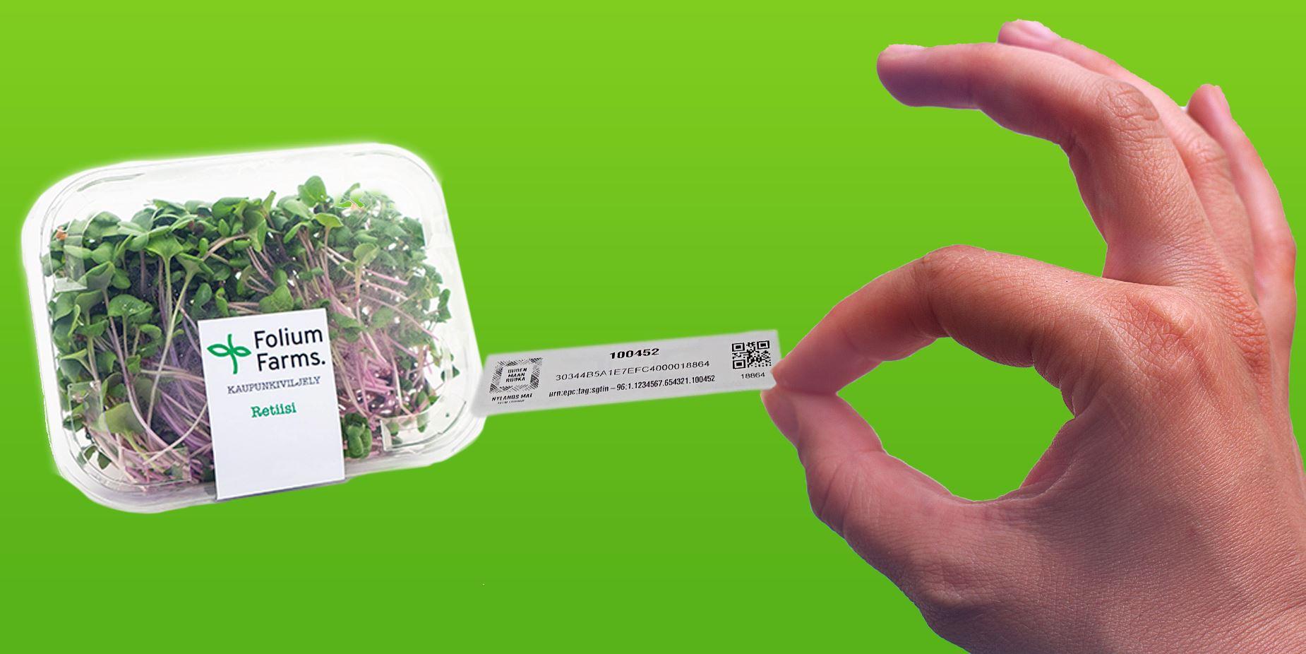 RFID-tarra lähiruokapakkauksessa