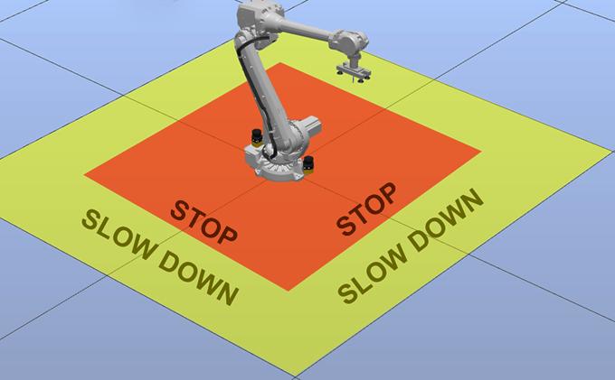 Laserskannereilla varustettu teollisuusrobotti